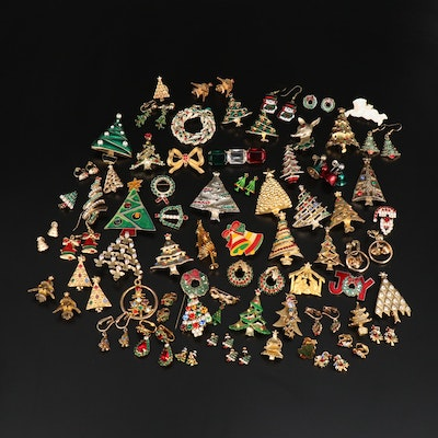 Collection of Christmas Jewelry Including Reindeer Brooch and Bell Earrings