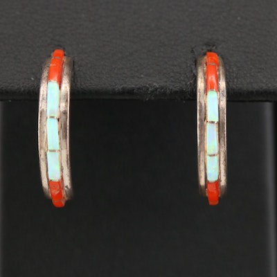 Cobblestone Sterling Silver and Inlaid Opal and Coral J-Hoop Earrings