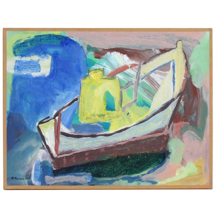 Tina Kambani Abstract Acrylic Painting of Boat, 2009