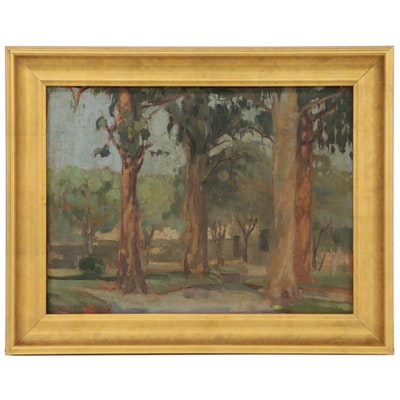 Woodland Landscape Oil Painting, 1942