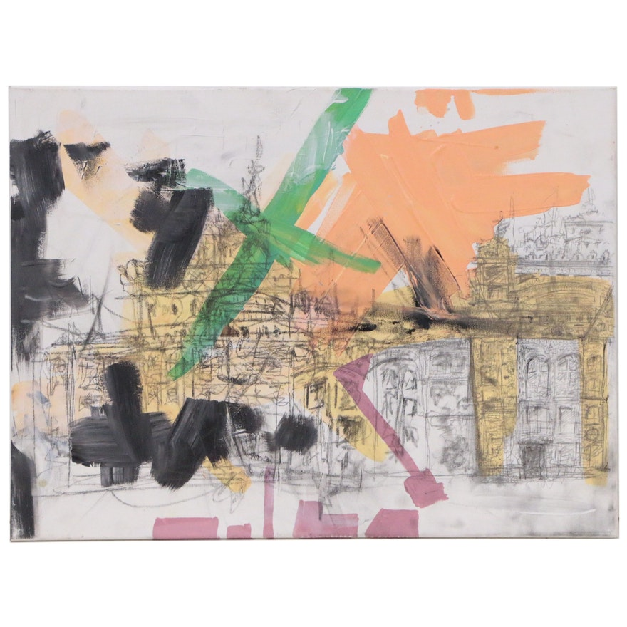 Abstract Acrylic and Graphite Painting, 21st Century