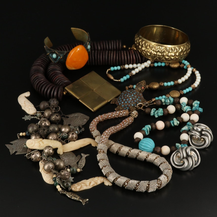 Assorted Jewelry Collection Including Earrings, Necklaces and Bracelets