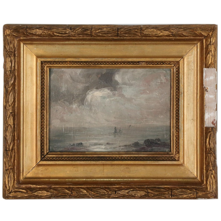 Stormy Seascape Oil Painting, Early 20th Century