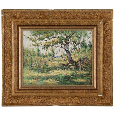 Impasto Landscape Oil Painting Attributed to Ernest Lawson, Early 20th Century