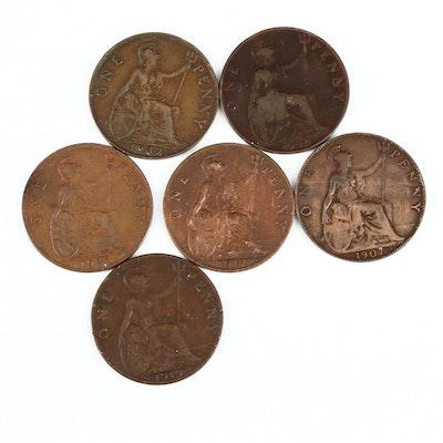 Six British Bronze Large Cents Coins, 1900–1932