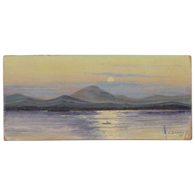 Oil Painting of Bay at Twilight with Mountain Coast