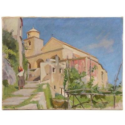 Albert Kongsbak Village Scene Oil Painting, Circa 1929