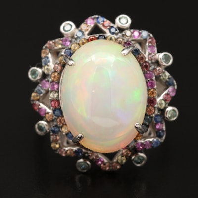 Sterling Silver Opal and Sapphire Halo Ring