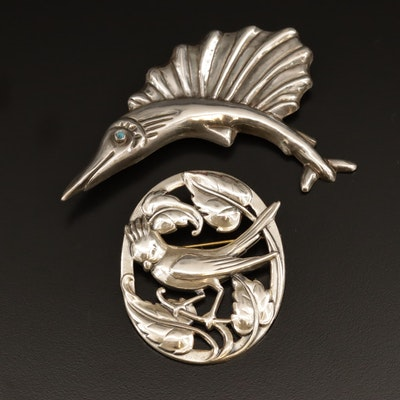 Vintage Mexican Sterling Silver Gamefish Brooch and Coro Bird Converter Brooch