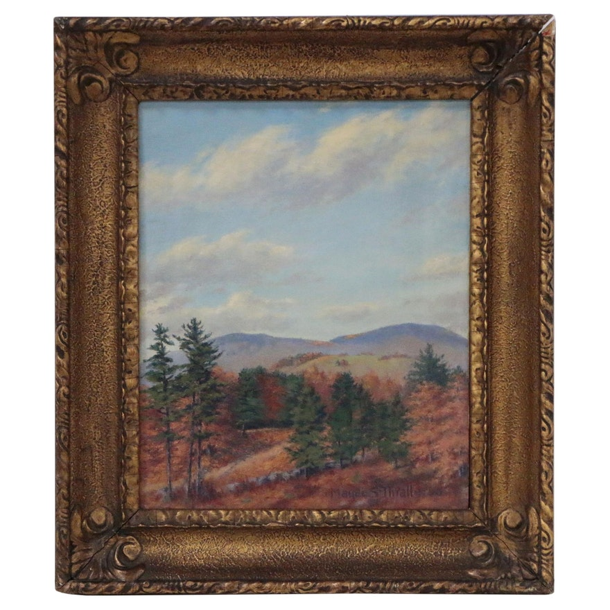 Mountainous Autumn Landscape Oil Painting, Early-Mid 20th Century