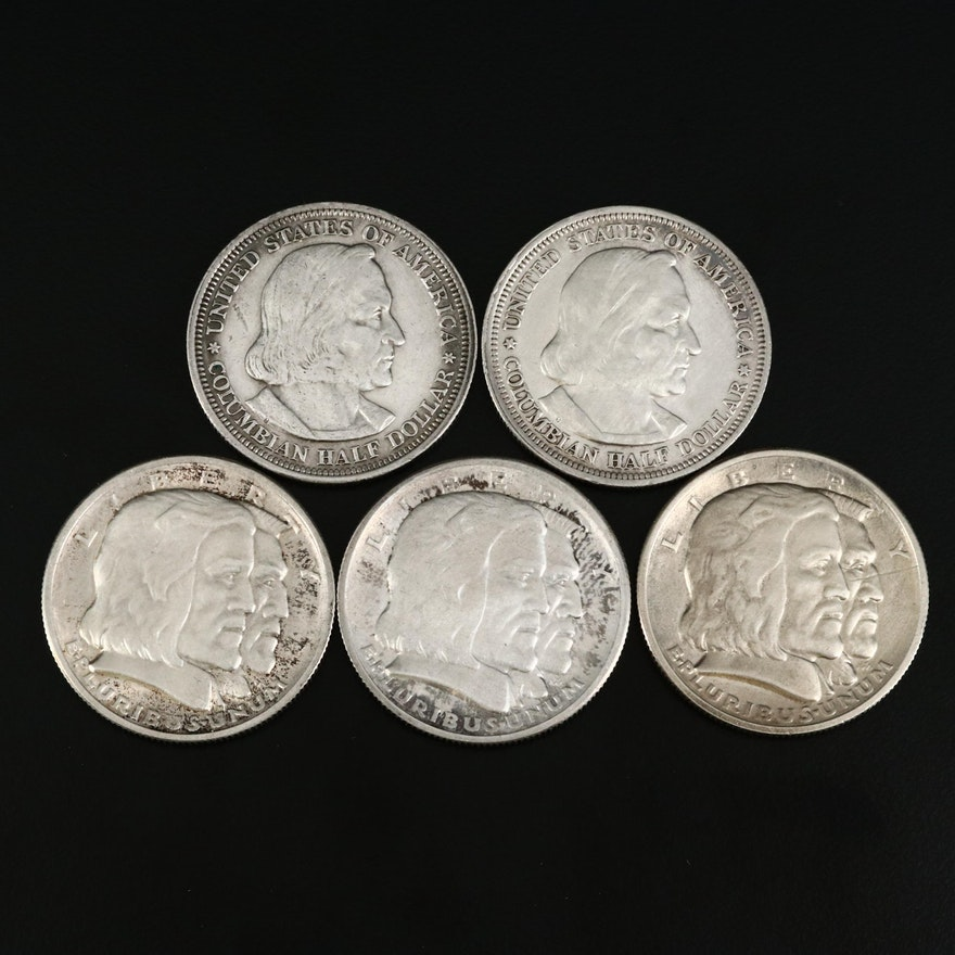 Five Columbus Commemorative Silver Half Dollars