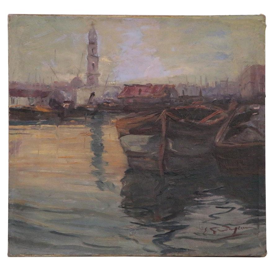 Oil Painting of Venetian Harbor Scene