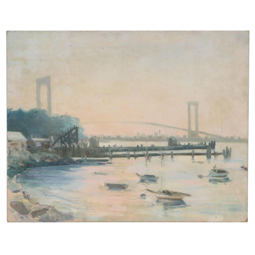 Impressionist Style Landscape Overlooking Brooklyn Bridge, Mid 20th Century
