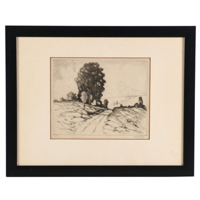 Frederick Polley Drypoint Etching of Country Road, Early to Mid 20th Century