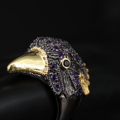 Sterling Silver Amethyst and Smoky Quartz Bird Ring