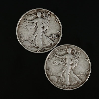 Walking Liberty Silver Half Dollars, 1937 and 1942