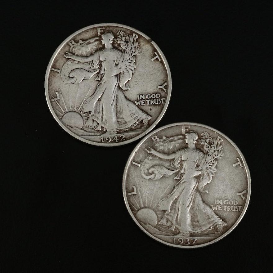 Walking Liberty Silver Half Dollars, 1937 and 1942