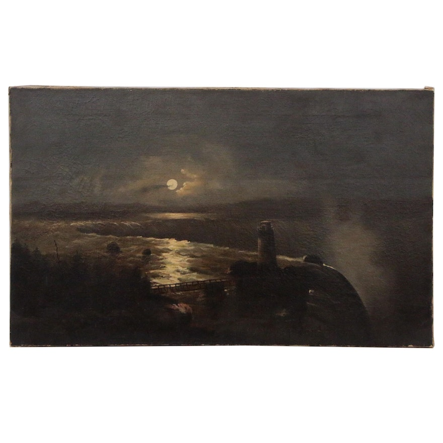 Nocturnal Oil Painting of Niagara Falls with Terrapin Tower, Early 20th Century