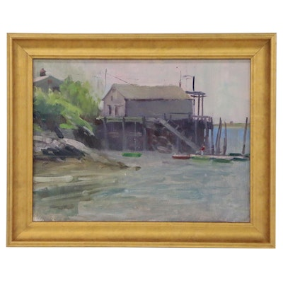 Harry Barton Oil Painting of Dock Scene, Mid to Late 20th Century
