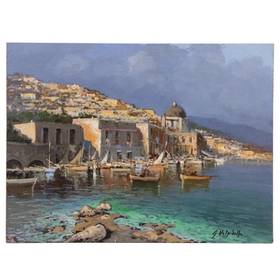 Oil Painting of Mediterranean Coastal Village Scene, 21st Century