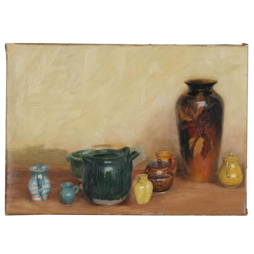 Still Life with Vessels Oil Painting, Early 20th Century