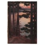Landscape Oil Painting of Lake Scene at Sunset, Early 20th Century