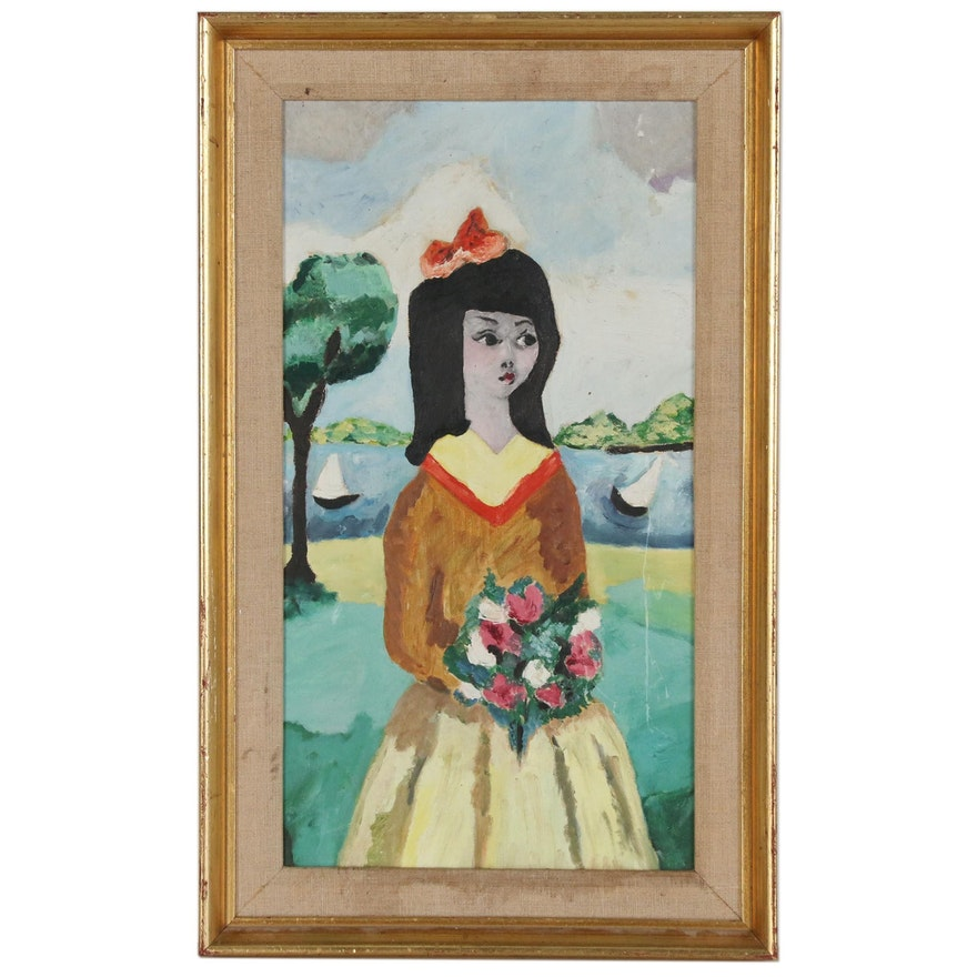 Girl with Hair Bow and Bouquet Oil Painting, Late 20th Century