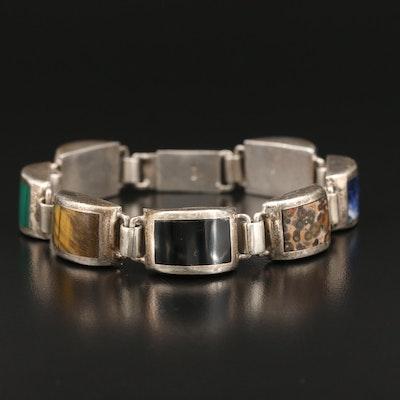 Sterling Jasper, Malachite and Tiger's Eye Inlay Bracelet