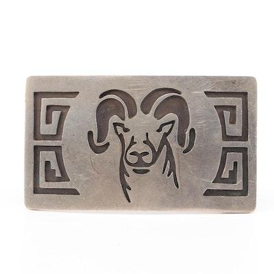 Sterling Silver Rams Head Belt Buckle in Hopi Design
