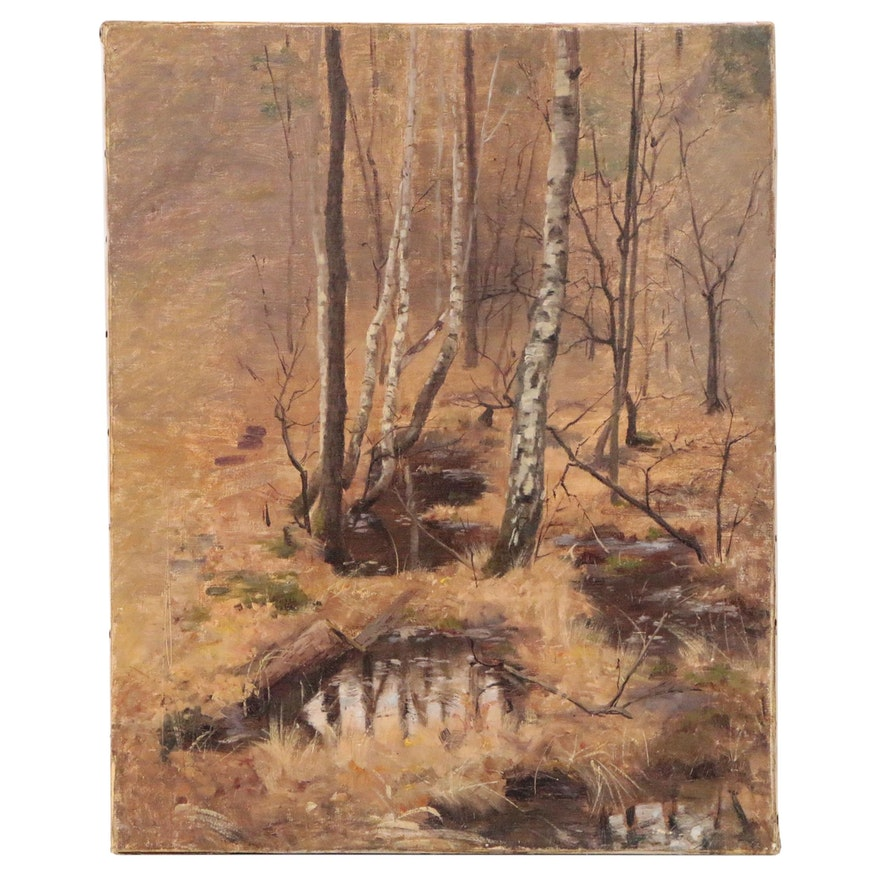 Landscape Oil Painting of Autumn Forest, 20th Century