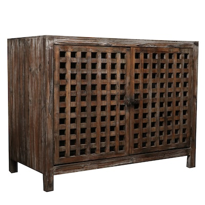 Distressed Finish Wood Storage Cabinet with Lattice Doors, Contemporary