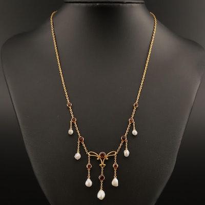 Art Nouveau Bippart & Co. Garnet, Citrine and Baroque Pearl Fringe Necklace