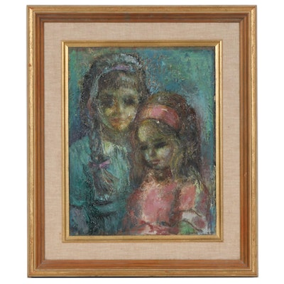 Marian Levin Oil Painting Portrait of Girl with Doll, Early to Mid 20th Century