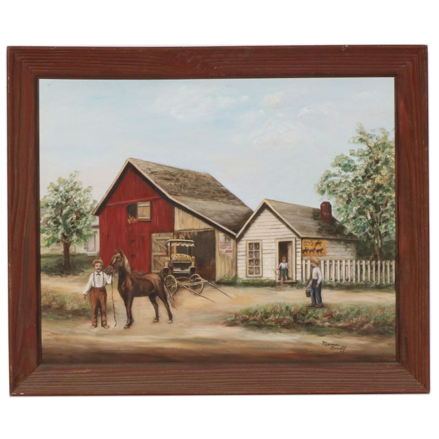 Country Genre Scene Oil Painting