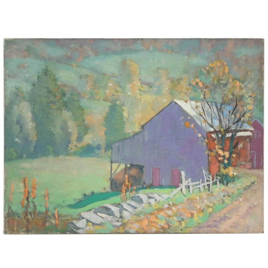 Impressionistic Oil Painting of Pastoral Scene with Barn, Mid 20th Century