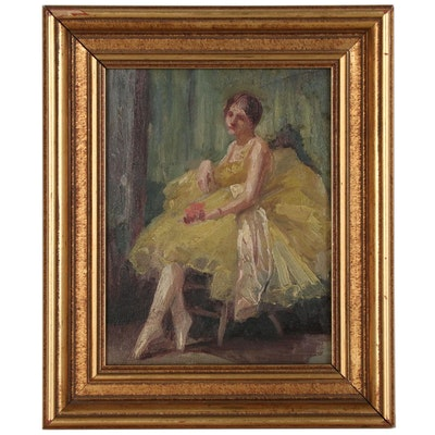 Impressionist Style Portrait of a Ballerina in Yellow Tutu, Early 20th Century