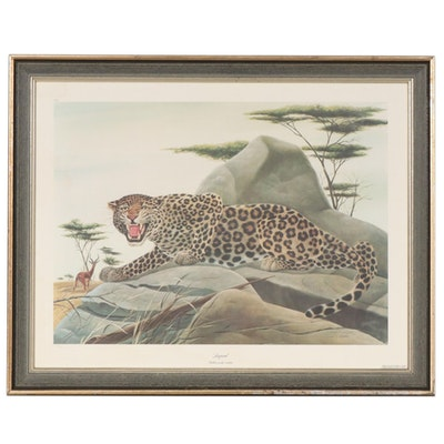 "John A. Ruthven Offset Lithograph ""Leopard"", Late 20th Century"