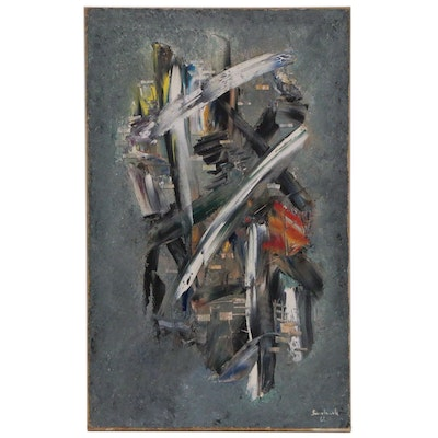 Waldemar Smolarek Abstract Composition Oil Painting, 1961