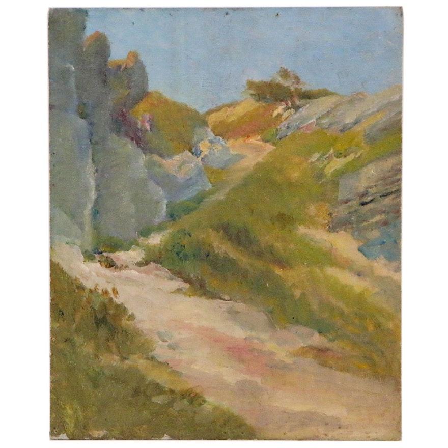 Hillside Path Landscape Oil Painting, Mid 20th Century