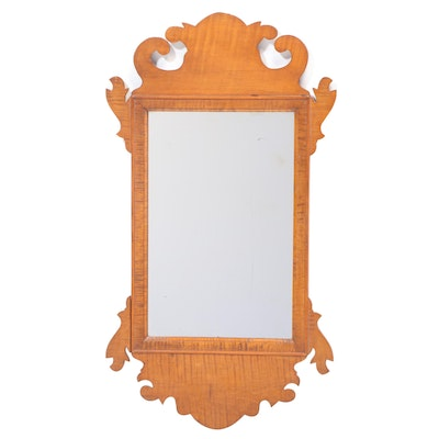 Chippendale Style Tiger Maple Mirror, 20th Century