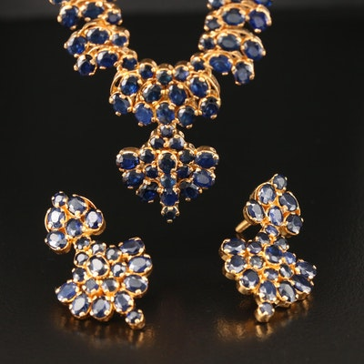 18K Sapphire Necklace and Earring Set