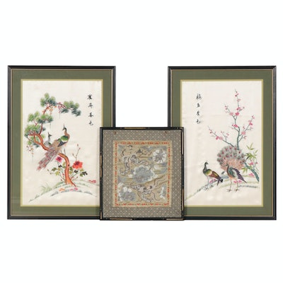 Tientsin School Chinese Embroidery and Other Silk Peacock Embroidery Panels