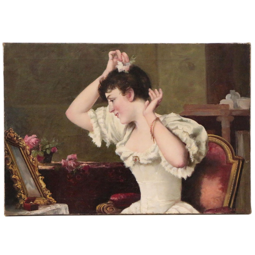 """Oil Painting after Moritz Stifter """"Putting on the Finishing Touches"""""""