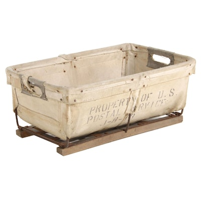 United States Postal Service Steel Canvas Carry Basket, 20th Century