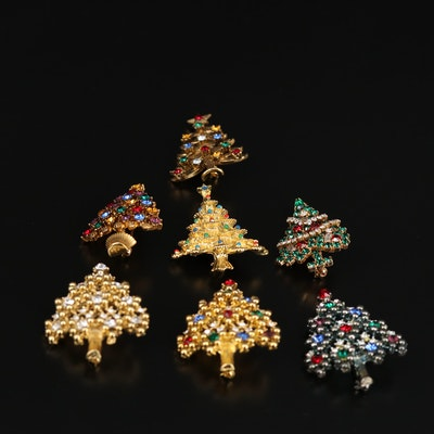 Eisenberg and Eisenberg Ice Rhinestone and Enamel Christmas Tree Brooches