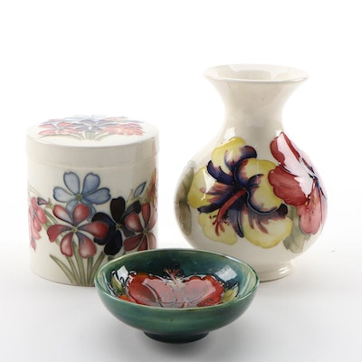 Moorcroft Pottery  Vase, Bowl, and Decorative Jar, Mid-20th Century