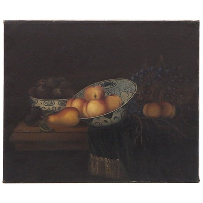 Dutch Golden Age Style Still Life with Peaches Oil Painting, Late 19th Century