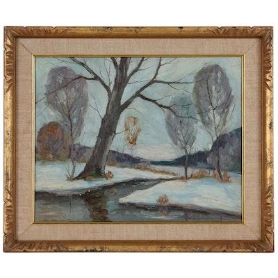 Cyril Joseph Ledoux Snowy Landscape Oil Painting, Mid 20th Century