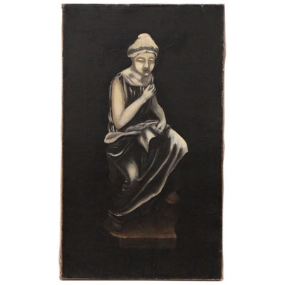 Oil Painting of Statue of Seated Figure with Scroll