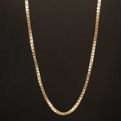 14K Adjustable Box Chain Necklace